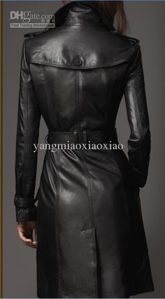 New women's Trench Coats Longer section black Furriery Spring and Autumn England Europe and America