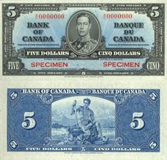 5 Dollars Canada's BanknotePick: Date: 1937 Canadian Coins, Canadian Dollar, Bank Account Balance, Valuable Coins, George Vi, Weapons Guns, Stamp Collecting, Stamps, Money