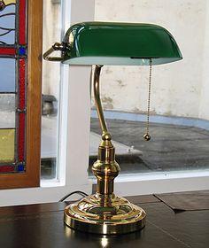 Lampe de banquier, laiton, abat-jour vert 75€
