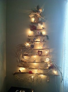 Christmas wall tree with driftwood
