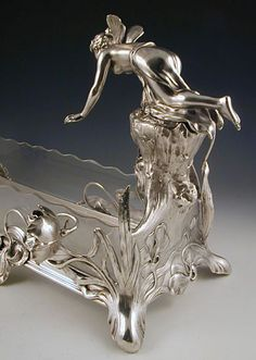 WMF Glass & Pewter Centrepiece of Maiden Reaching into a Pond - Art Nouveau Belle Epoch, Sculptures, Lion Sculpture, Vintage Fairies, Wmf, Terra Cotta, Awesome Things, Metallica, Pewter