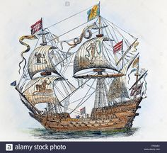 Download this stock image: SPANISH GALLEON, 1588. /nA galleon from the Spanish Armada of 1588. Wood engraving, 19th century, after a contemporary drawing. - FFD5AY from Alamy's library of millions of high resolution stock photos, illustrations and vectors.