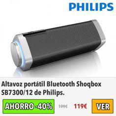 Altavoz portátil Bluetooth Shoqbox SB7300/12 de Philips. #ofertas #descuentos