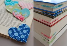 Heart bookmarks out of leftover fabric - perfect!