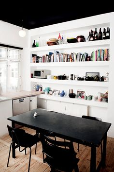 I love the dark accents with the white. And lots of natural light!