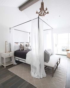 On the blog now!! Click the link in our profile to see our #projectwestbay master bedroom, loft and rooftop patio  this bed gives a whole new meaning to beauty sleep  #coastalvibes #whiteonwhiteonwhite #snoozefest