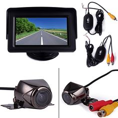 HDE Wireless Reverse Parking System Blind Spot Cam Kit Waterproof Rear Vehicle Backup Camera  43 LCD Color Monitor -- Find out more about the great product at the image link. (This is an affiliate link and I receive a commission for the sales)