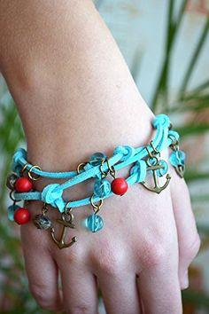 Leather Charm bracelet Summer jewelry beach bracelets gift for women Anchor Gift for Her Womens Bracelet Friendship gift for girlfriend Boho Chic bracelets Teen girl gift Nautical Marine Sister gift