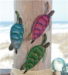 Set of 3 Reflective Metal Sea Turtles Wall Sculptures