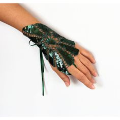 Emerald Green Wrist Cuff Charm, Shiny Sequined Fingerless Glove,... ($19) ❤ liked on Polyvore featuring jewelry, bridal jewelry, art deco jewelry, emerald green jewelry, bridal charms and bride jewelry