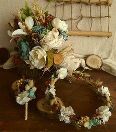 Gelin Tacı, Gelin Çiçeği ve Damat Yaka Aksesuarı Seti -