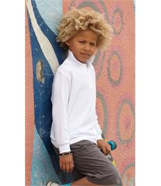 Fruit Of The Loom Childrens Long Sleeve 65/35 Pique Polo