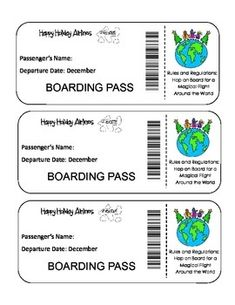 FREE! Christmas Around The World Activity Unit -Print your Happy Holidays Airlines Boarding Pass and your Passport and visit countries around the world to learn how they celebrate Christmas!