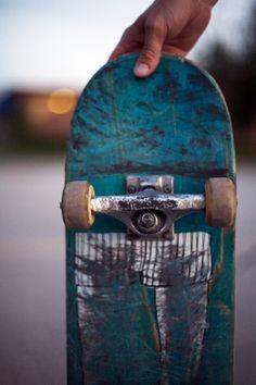 teal skateboard