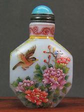 Chinese Three Bird Flower Hand Painted Peking Enamel Glass Snuff Bottle