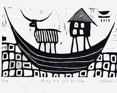 House Boat Linocut: A Trip I've Yet to Take - magical journey, black and white, original art work, hand printed, limited edition