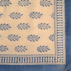 Handblock Printed Oblong Tablecloth in Blue Spruce Design from ...
