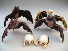 needle felted bats by creturfetur - whose Etsy store is sadly on hiatus while they work on other projects