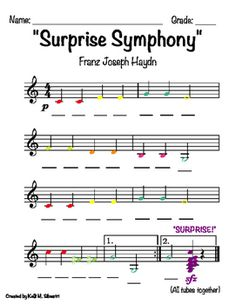 """""""Surprise Symphony"""" By Haydn for Boomwhackers by Ms Silvestri's Music Classroom Music Do, Violin Music, Piano Lessons, Music Lessons, Piano Songs For Beginners, Choir Memes, Sunday School Songs, Guitar Classes, Do Re Mi"""
