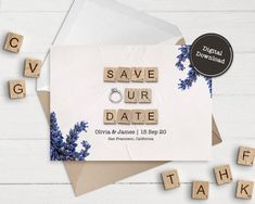 Save Our Date Save The Date Cards Instant Download | Etsy 65th Birthday Cards, Happy Birthday Printable, Diy Wedding Gifts, Personalized Wedding, Wedding Cards, Announcement Cards, Wedding Announcements, Printable Cards, Printables