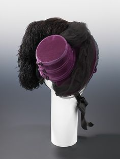 Mourning Hat West's (American, founded 1853) Date: ca. 1888 Culture: American Medium: silk, feathers Dimensions: 11 3/4 x 12 1/2 in. (29.8 x 31.8 cm) Credit Line: Brooklyn Museum Costume Collection at The Metropolitan Museum of Art, Gift of the Brooklyn Museum, 2009; Gift of George F. Hoag, 1959 Accession Number: 2009.300.1524