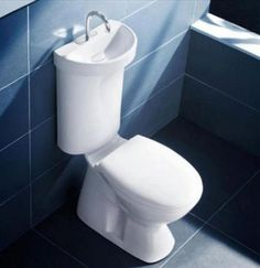 Save on your monthly water bill by setting up this toilet sink in your bathroom. The lid of the toilet comes with an integrated sink which has a special basin that allows water to drip down to the tank for more efficient water use.]Read More. Lavabo Design, Sink Design, Stand Wc, Toilet Suites, Creative Inventions, Funny Inventions, Dual Flush Toilet, Toilet Sink, Toilet Bowl