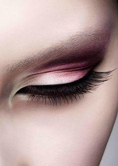 Eyes Pink eye make up with soft brown eyelashes #makeup