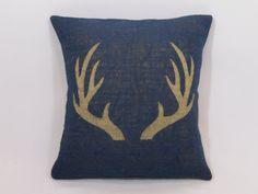 Custom made rustic country navy blue burlap tan (or custom color) buck deer antlers pillow cover/sham. Custom sizes and color option.