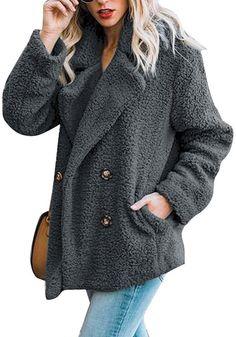 bbbaa61023b Dark Grey Double-Breasted Lapel Fleece Coat. Faux Fur JacketGrey Faux Fur  CoatTeddy Bear CoatCasual Coats For WomenVestsWinter JacketsFluffy ...
