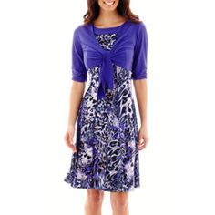 Perceptions Short-Sleeve Tie-Front Jacket Dress  found at @JCPenney