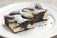 Slivkový koláč s makom a tvarohom - recept - cake poppy seed - plum Czech Recipes, Ethnic Recipes, Sponge Cake, Cheesecakes, Tiramisu, Baking Recipes, Food And Drink, Pudding, Cooking
