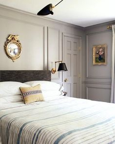 Currently obsessing over the same wall color as trim trend and this bedroom from is the perfect example of it done so, so right . What home decor trends are you living lately? Decor, Bedroom Panel, Interior, Home, Serene Bedroom, Home Decor Trends, Bedroom Interior, Williams Sonoma Home, Relaxing Bedroom