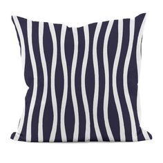 e by design Wavy Stripe Cotton Throw Pillow