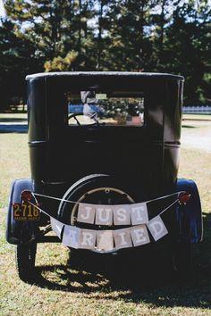 Vintage Navy Blue North Carolina Wedding, wedding getaway car, old car, retro car, wedding