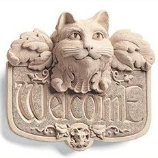 Gothic Cat Welcome Sign
