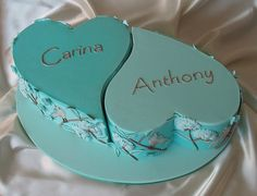 A really cool engagement cake. Interlocking hearts in turquoise