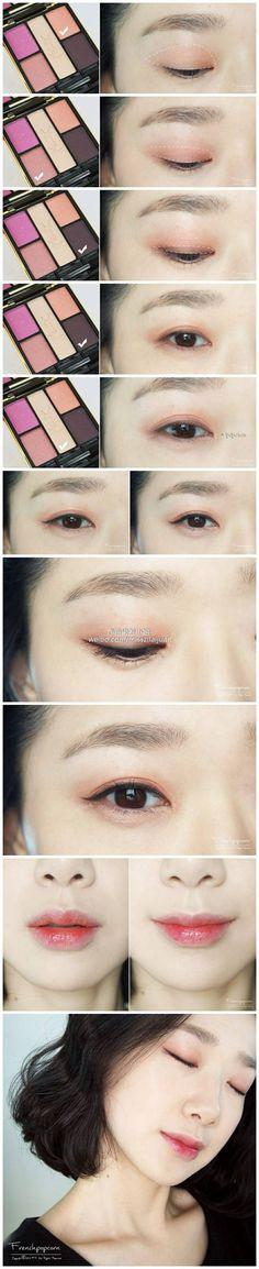 Ideas for hair tutorial formal eyeshadows - Makeup Tutorial Smokey Asian Makeup Looks, Korean Makeup Look, Asian Eye Makeup, Asian Makeup Tutorials, Makeup Tips, Make Up Looks, Simple Makeup, Natural Makeup, American Makeup