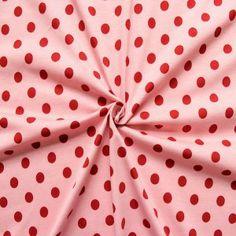 Baumwoll Stretch Jersey  Punkte mittel  Farbe Rosa-Rot