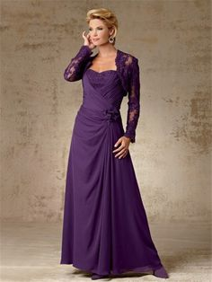 Mother of the Bride Dresses with Jackets | ... line long purple chiffon mother of the bride dress with lace jacket