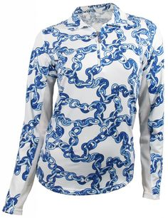 San Soleil Women's Soltek Long Sleeve Print Polo Top X-Small Serpentine Amazon New, Polo, San, Blouse, Long Sleeve, Sleeves, Fashion, Blouse Band, Moda