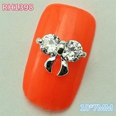 Tint 10PCS RH1398 Shinning Zircon Bow Tie 3D Alloy nail art DIY Butterfly Nail beauty Nail Decoration nail sticker >>> Details can be found by clicking on the image.