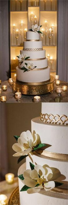 Gold and white cake with magnolia flowers Melissa's Fine Pastries How to transform an open ballroom with stunning decor Sapphire Events Greer G Photography Board of Trade White and Gold Wedding Winter Wedding Inspiration White and Green We Trendy Wedding, Dream Wedding, Wedding Gold, Cake Wedding, Wedding Cakes With Gold, Purple Wedding, White And Gold Wedding Cake, Wedding App, Gold Weddings
