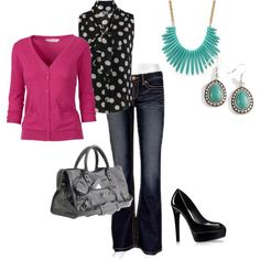 Great casual   friday work outfit.  splash of pink, created by whitcahoon on Polyvore