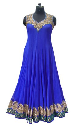 Royal blue color floor length anarkali suit