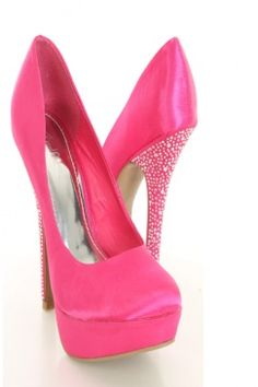 Darling hot pink pumps with bling for girls night out! Pair this with the little black dress!