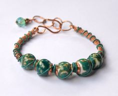 Bare Copper Wire and Teal Green Lampwork by CharmedImagination