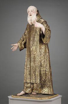 "Saint Ginés de la Jara; Luisa Roldán (called ""La Roldana"") (Spanish, 1652 - 1706), Polychromer: Tomás de Los Arcos (Spanish, born 1661); Spain; about 1692; Polychromed wood (pine and cedar) with glass eyes; 175.9 x 91.9 x 74 cm (69 1/4 x 36 3/16 x 29 1/8 in.); 85.SD.161; J. Paul Getty Museum, Los Angeles, California"
