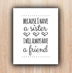 Sisters Quote INSTANT download Nursery sisters by PrintableHome, $5.00