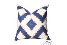 Schumacher Pillow Cover  Puka   Blue Geometric by MotifPillows