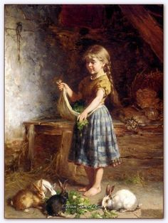 Beautiful art Oil painting heinrich hirt - Young girl feeding the rabbits canvas Old Paintings, Paintings I Love, Beautiful Paintings, Vintage Paintings, Illustration Inspiration, Vintage Illustration, Images D'art, Art Texture, Art Pictures